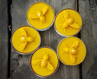 Velká čmeláčí čajová svíčka ze včelího vosku - 5